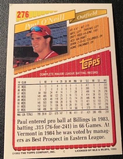 1993 Topps Reds Paul O'Neill 276