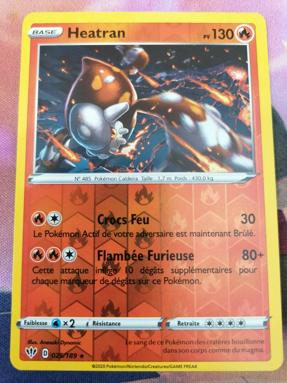 Details about  /Pokemon Heatran - SWSH Darkness Ablaze Holo Rare Reverse Foil 025//189
