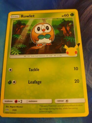 Pokemon McDonald's 25th Anniversary Rowlet 7/25