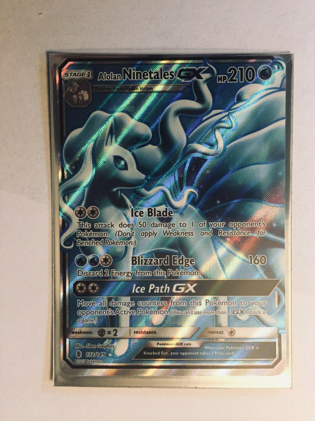 Alolan Ninetale GX 132//145 Pokemon Card English Standard Size Matt Gold Card