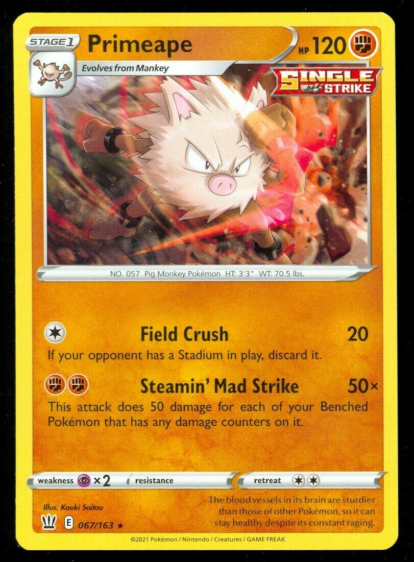 Pokemon PRIMEAPE 067/163 Battle Styles - RARE - - MINT