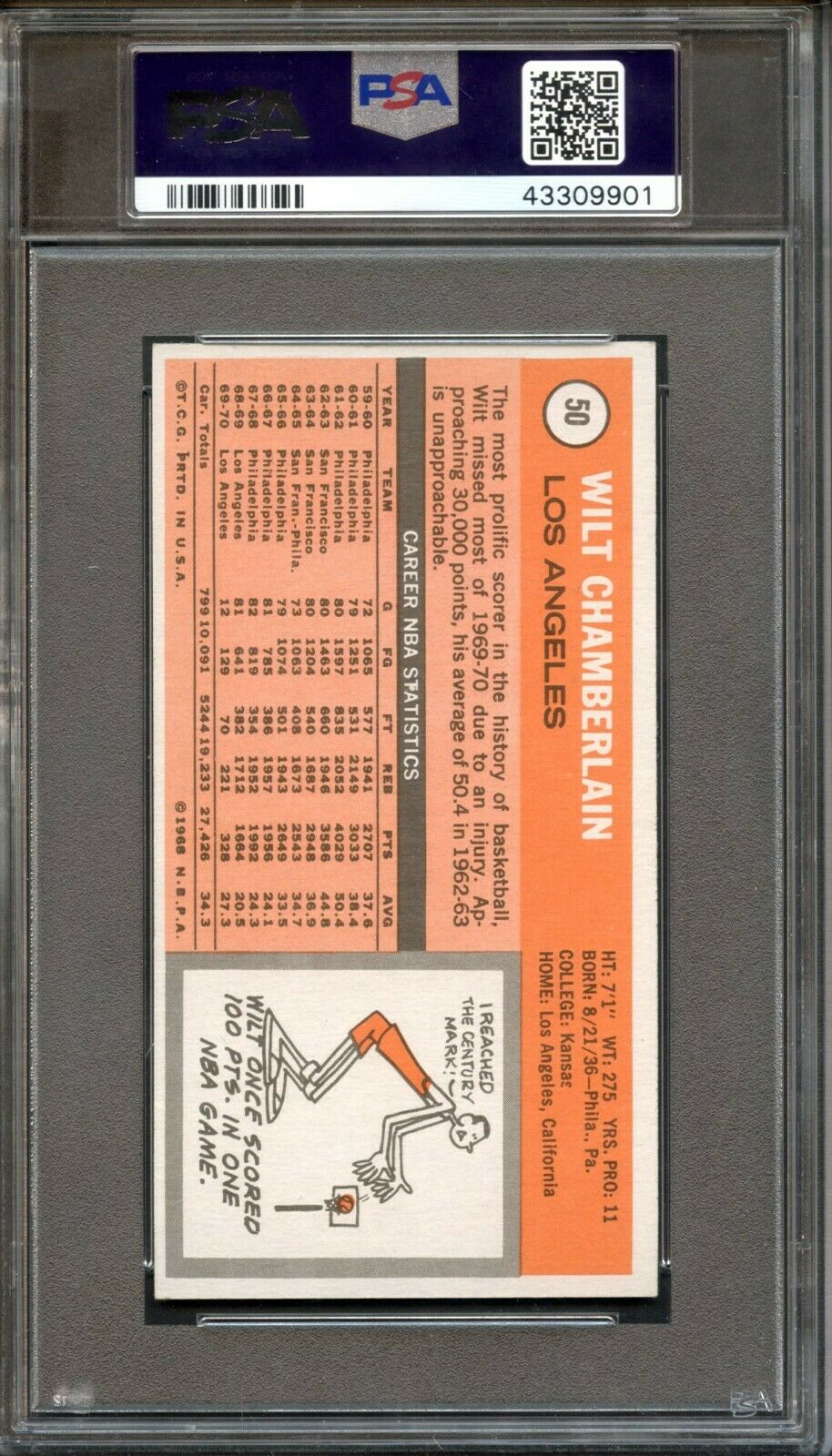 1970 Topps #50 Wilt Chamberlain PSA 8 Centered Los Angeles Lakers - Image 2