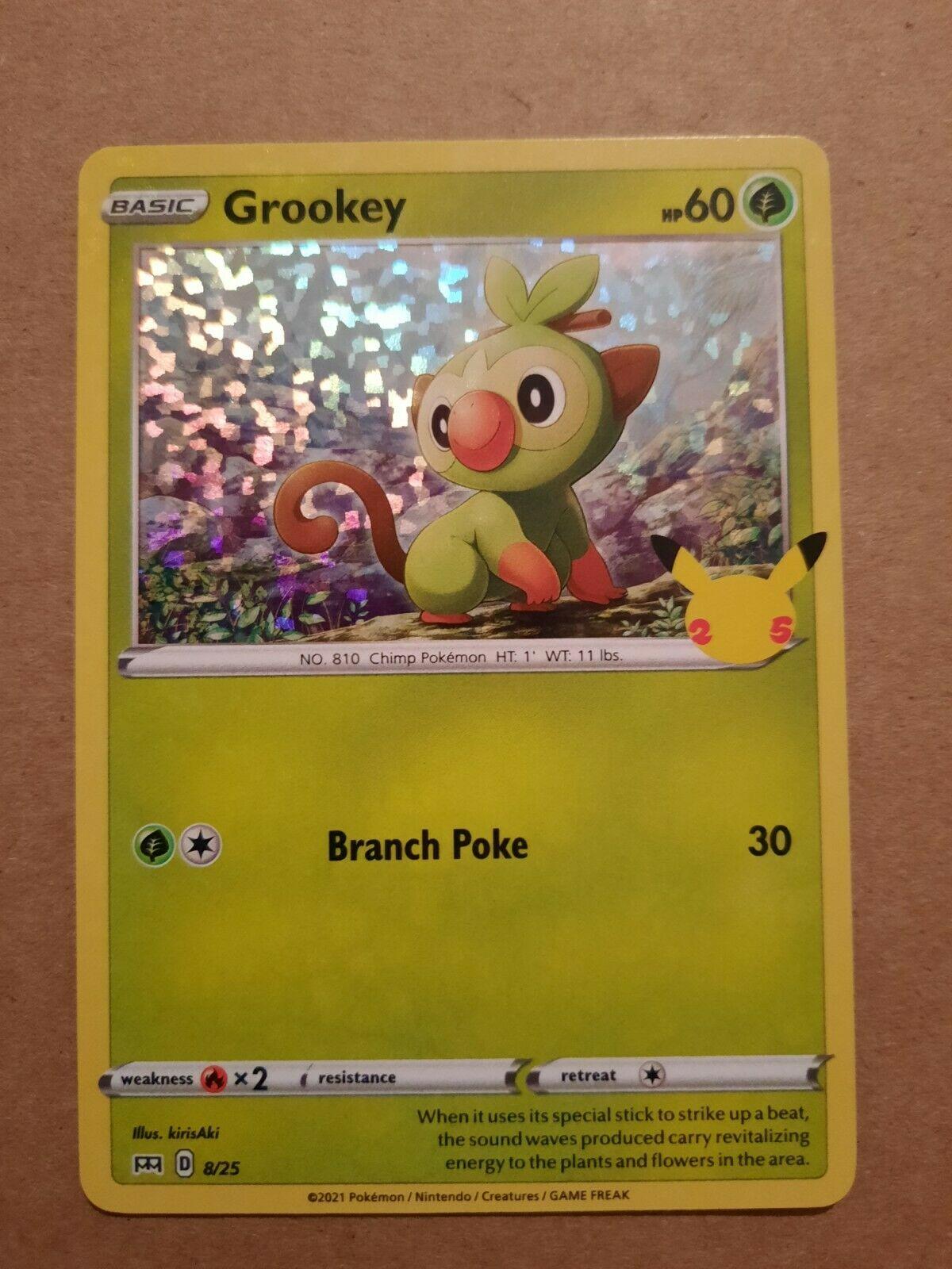 Grookey McDonald's Happy Meal Pokemon Card Holographic 2021 8/25 25thAnniversary