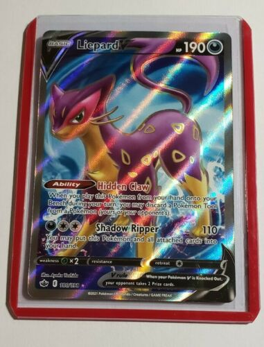 Pokemon Liepard V 180/198 Chilling Reign Ultra Rare Holo Card + Top Loader