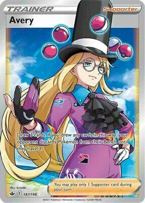 x1 Avery - 187/198 - Full Art Ultra Rare Pokemon SS06 Chilling Reign M/NM