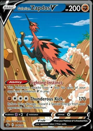 Pokemon Chilling Reign Galarian Zapdos V ALTERNATE FULL ART 174/198 - MINT