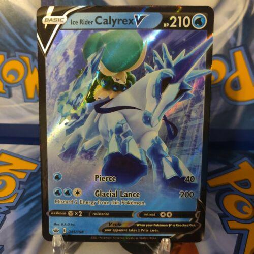 Pokemon TCG Chilling Reign ICE RIDER CALYREX V Holo Rare Card  # 045/198 - Image 1