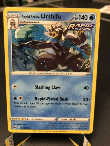 x1 Rapid Strike Urshifu - 044/198 - Holo Rare Pokemon SS06 Chilling Reign M/NM - Image 1