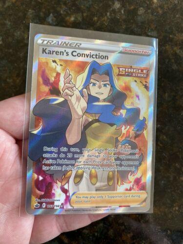 2021 Pokemon Chilling Reign Karen's Conviction Full Art Trainer Card 193/198 NM