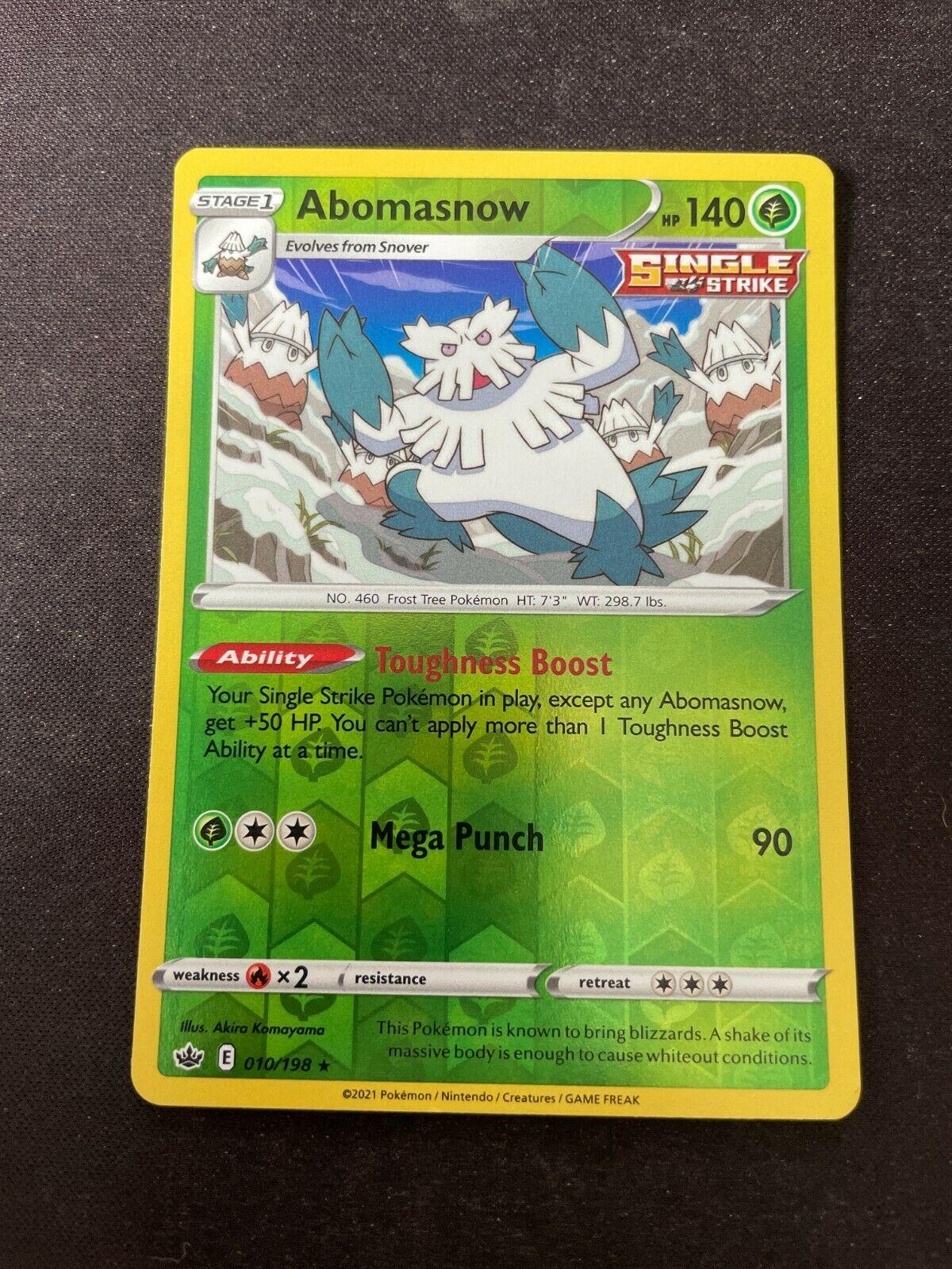 Pokemon TCG Chilling Reign 010/198 Abomasnow Card Fresh Reverse Holo Mint Rare