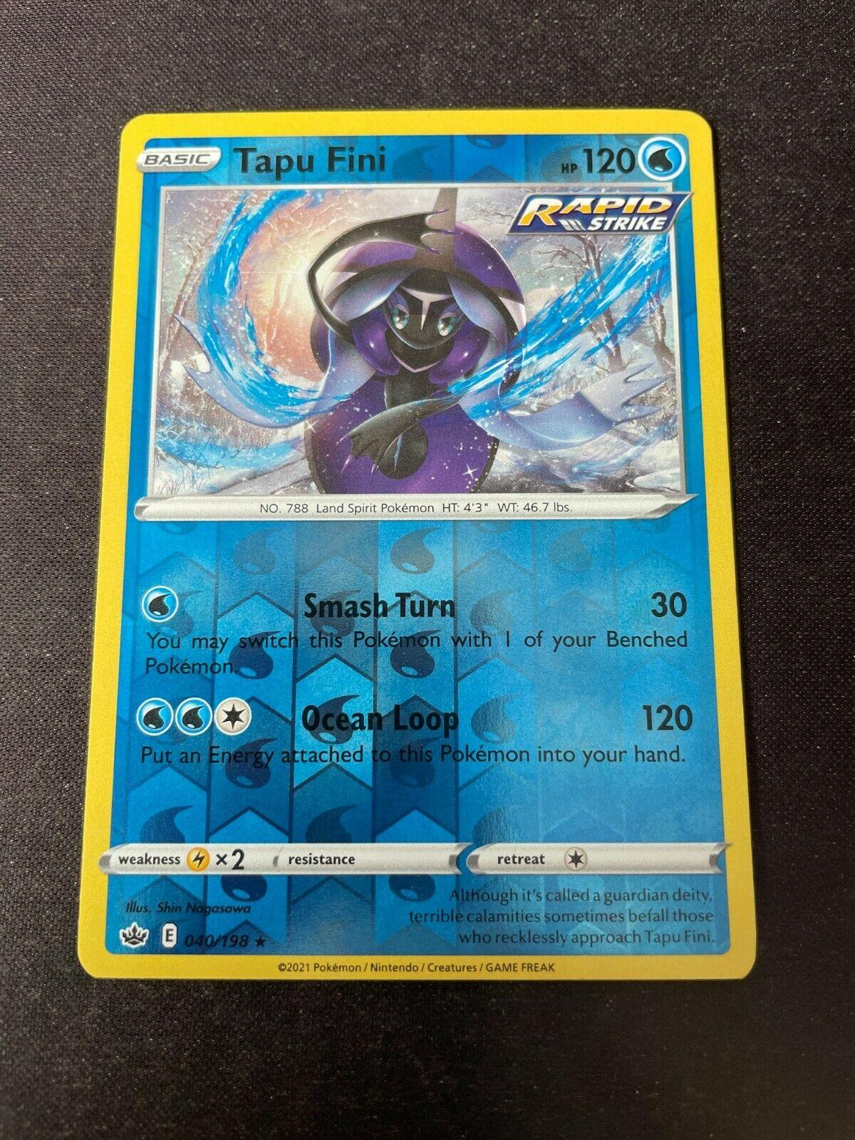 Pokemon TCG Chilling Reign 040/198 Tapu Fini Card Fresh Reverse Holo Mint Rare
