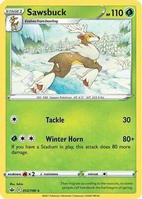 4x Sawsbuck - 012/198 - Rare NM-Mint Pokemon SWSH6 - Chilling Reign