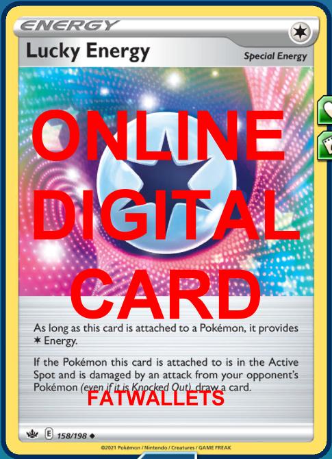 4X Lucky Energy 158/198 Chilling Reign Pokemon Online Digital Card