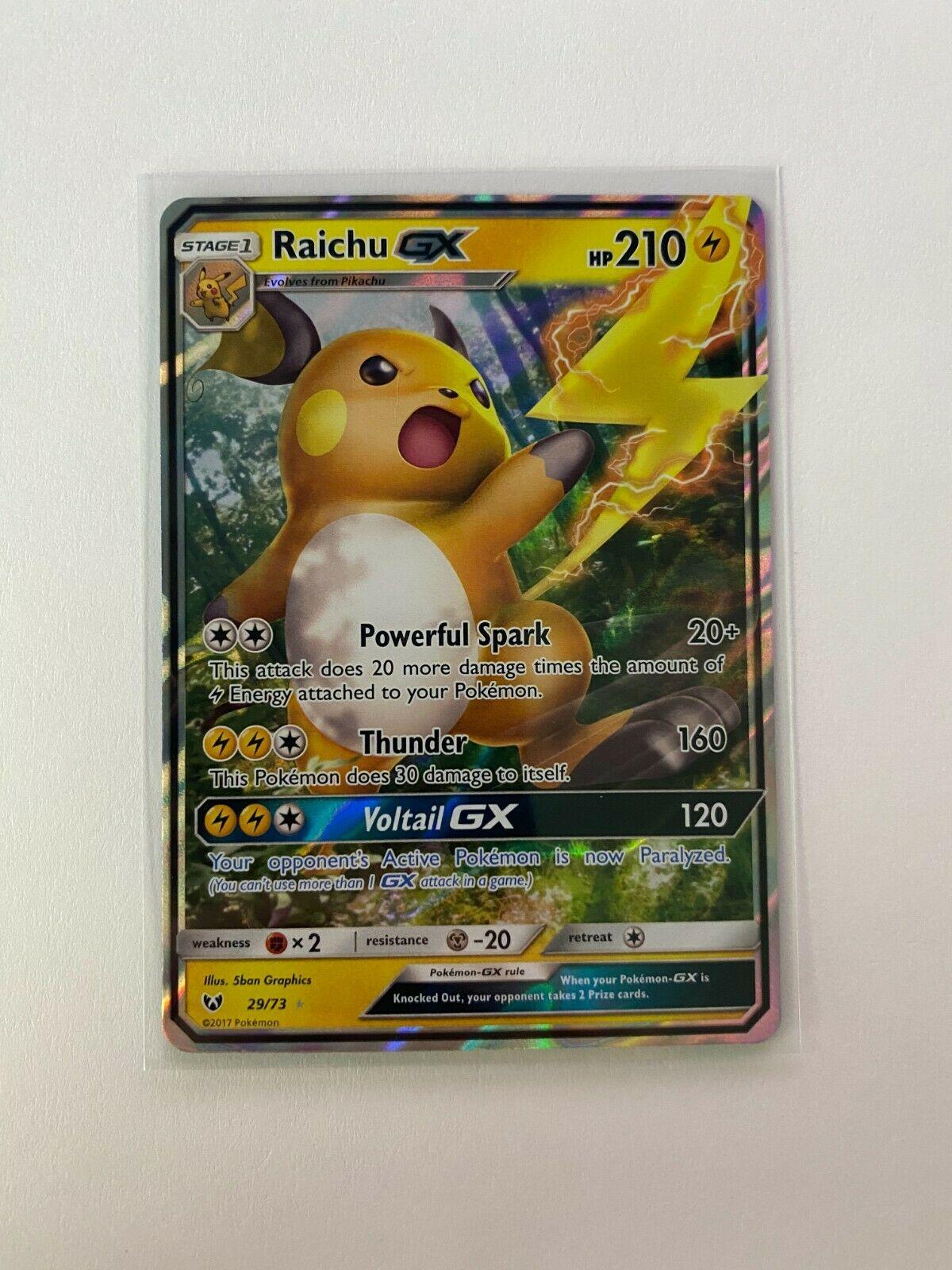 Raichu GX 29//73 Shining Legends Set Ultra Rare Holo Pokemon Card NM