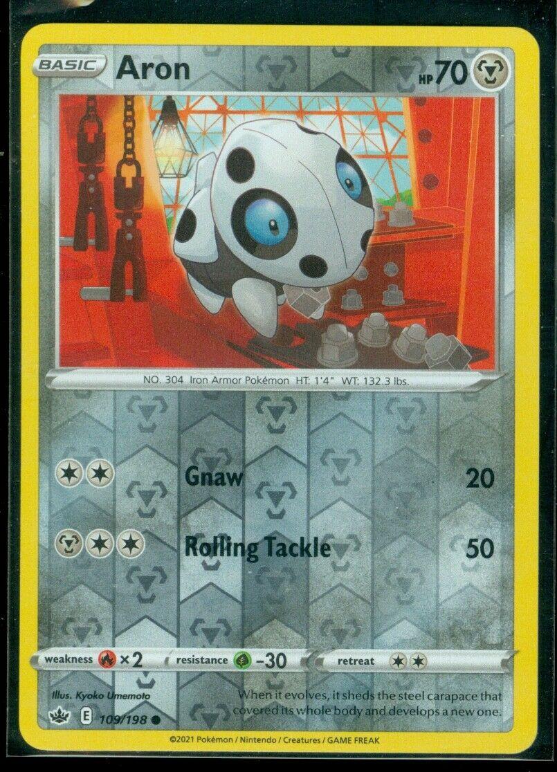 Pokemon ARON 109/198 Chilling Reign - Rev Holo - - MINT