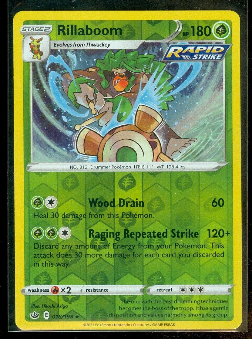 Pokemon RILLABOOM 018/198 Chilling Reign - RARE Rev Holo - - MINT