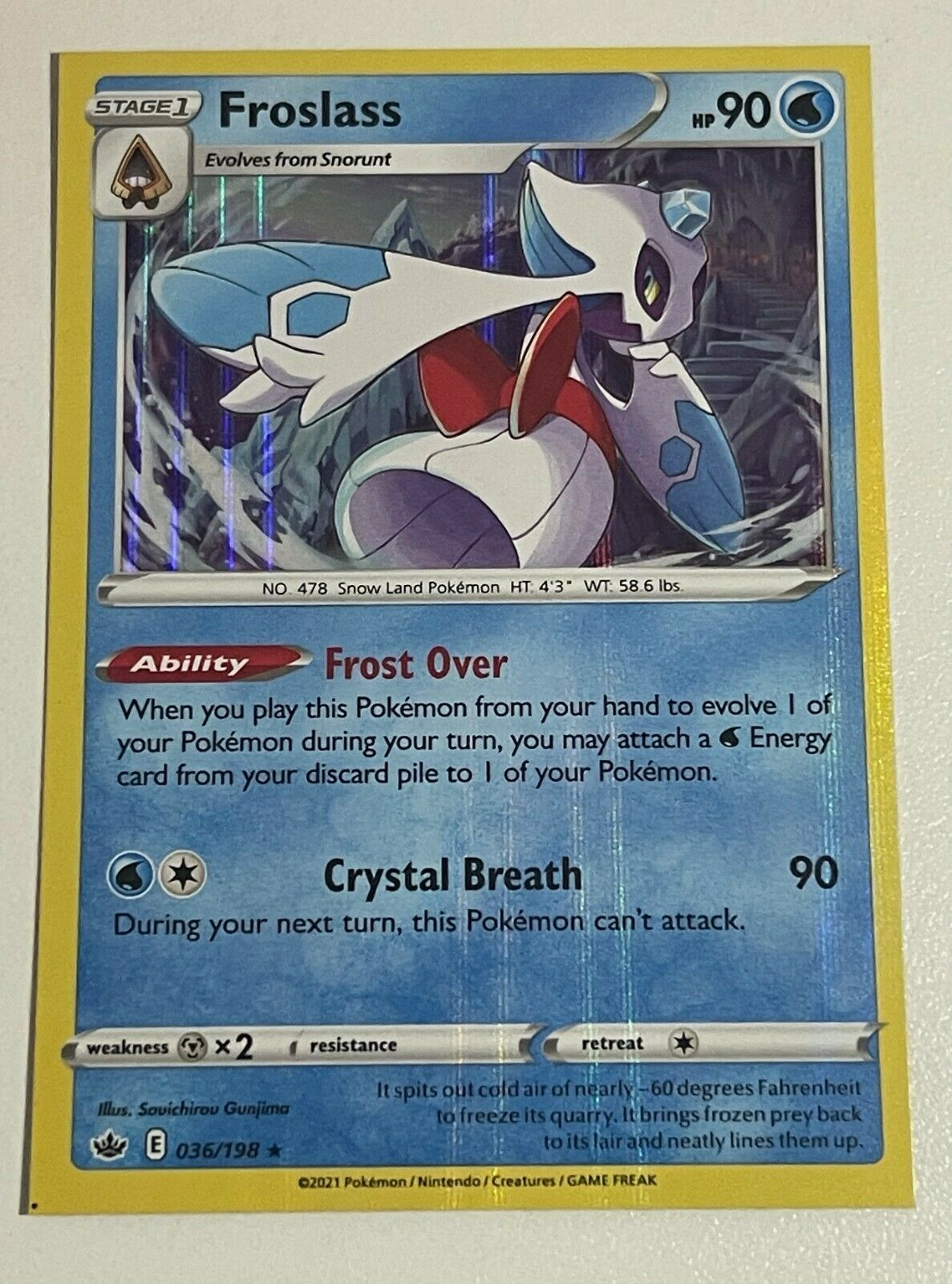 Froslass 036/198 Holo Rare Pokemon Chilling Reign SQUARE CUT MISPRINT