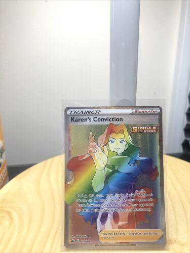 MINT Karen's Conviction Rainbow Secret Rare 216/198 Pokemon Chilling Reign PSA!?