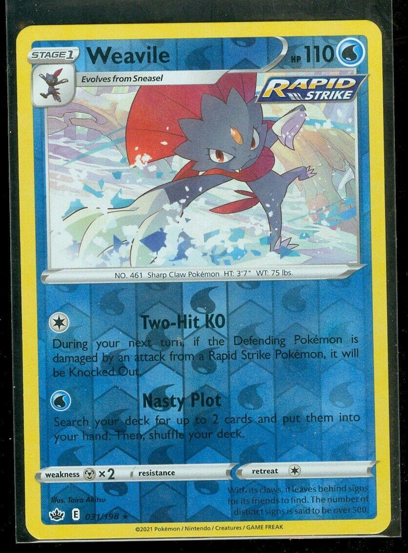 Pokemon WEAVILE 031/198 Chilling Reign - RARE Rev Holo - - MINT