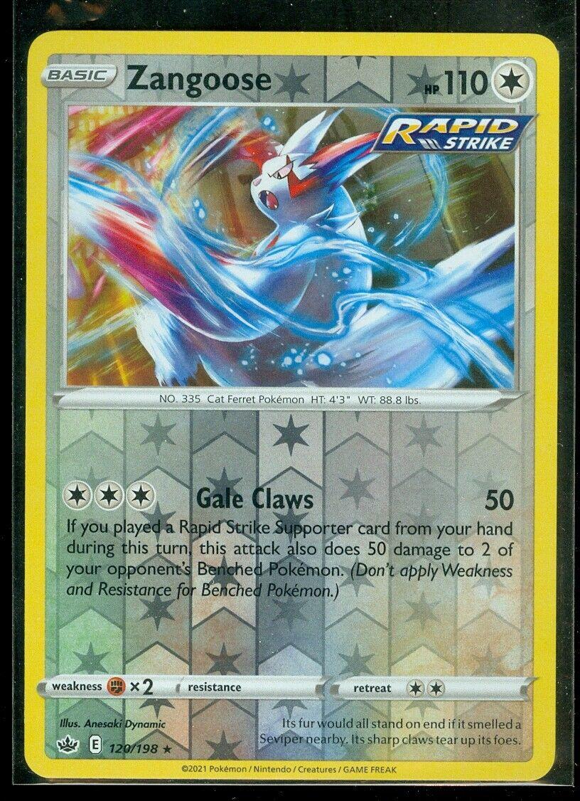 Pokemon ZANGOOSE 120/198 Chilling Reign - RARE Rev Holo - - MINT