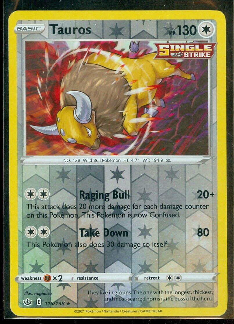 Pokemon TAUROS 115/198 Chilling Reign - RARE Rev Holo - - MINT