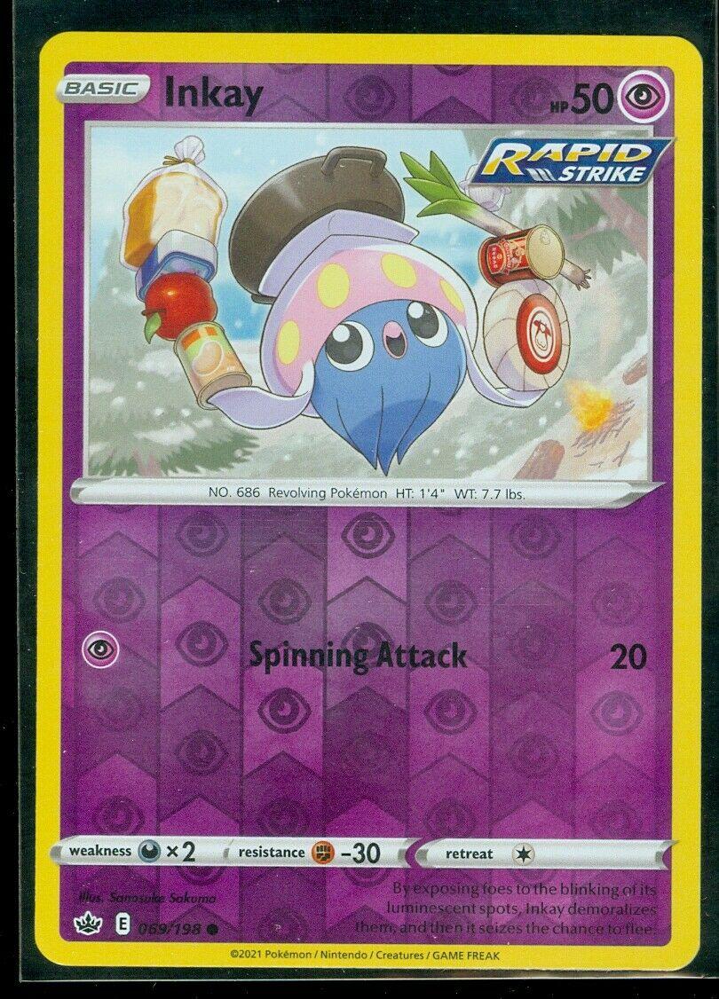 Pokemon INKAY 069/198 Chilling Reign - Rev Holo - - MINT
