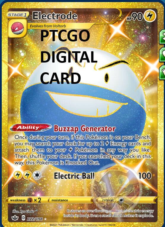 Electrode SR GOLD 222/198 PTCGO DIGITAL CARD Chilling Reign Pokemon TCG Online