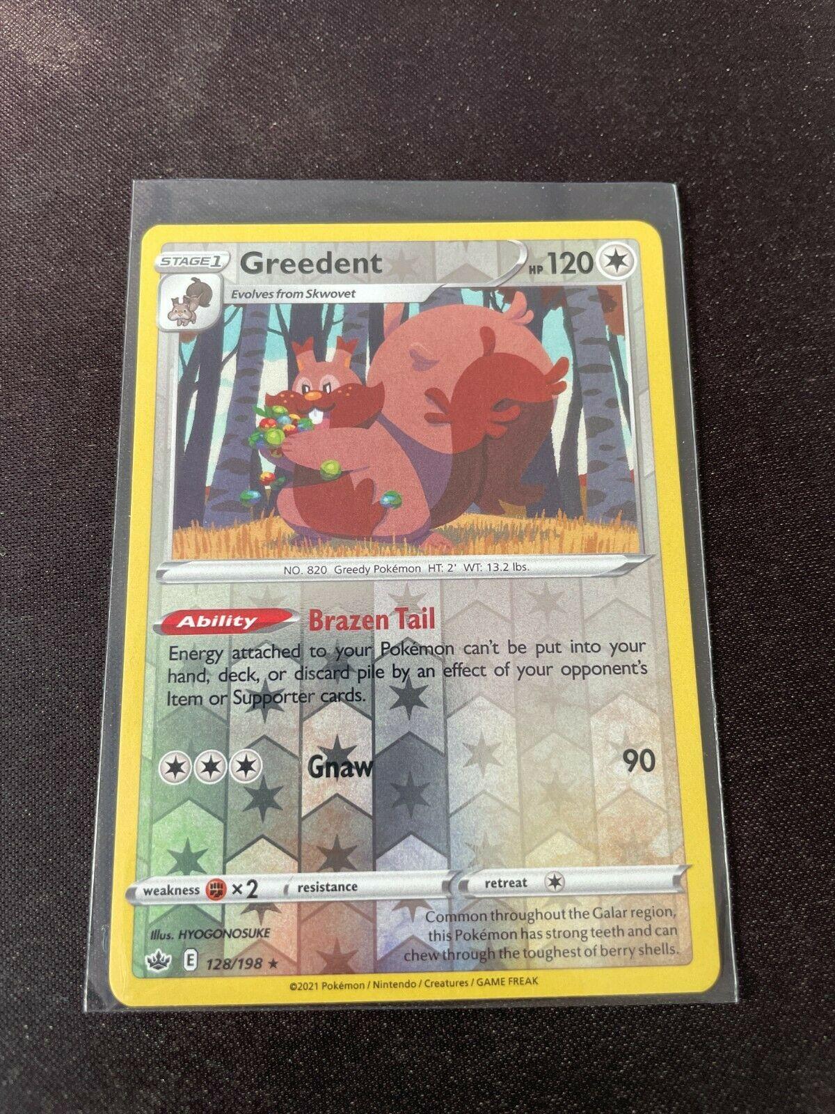 Pokemon TCG Chilling Reign 128/198 Greedent Card Fresh Reverse Holo Mint Rare