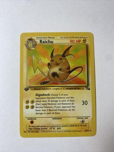 Unlimited Fossil Set Non-Holo Rare Raichu 29//62 Pokemon Trading Card Light Play
