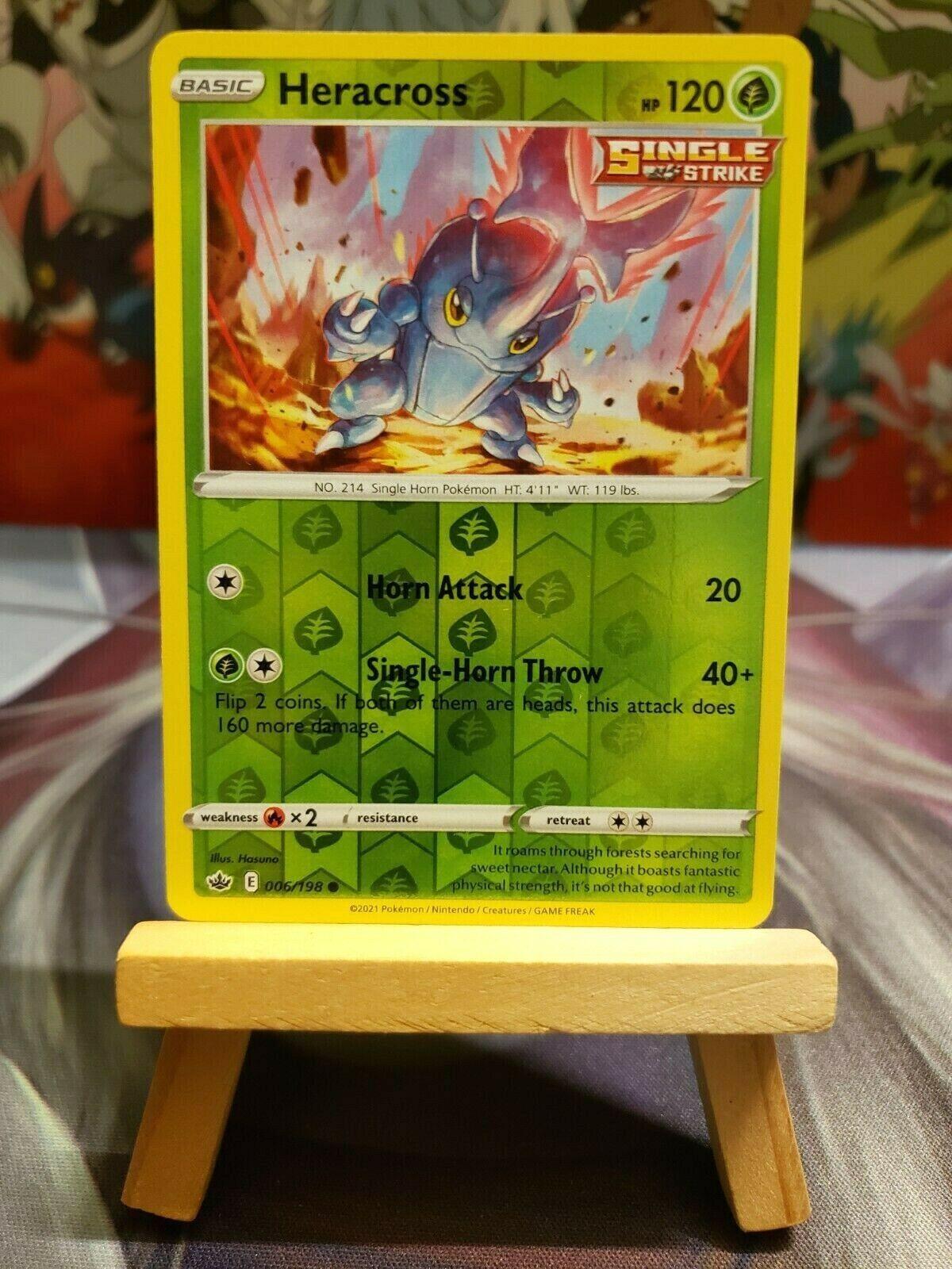 Heracross [006/198] Reverse Holo, SWSH Chilling Reign, Mint/NM, Pokemon TCG