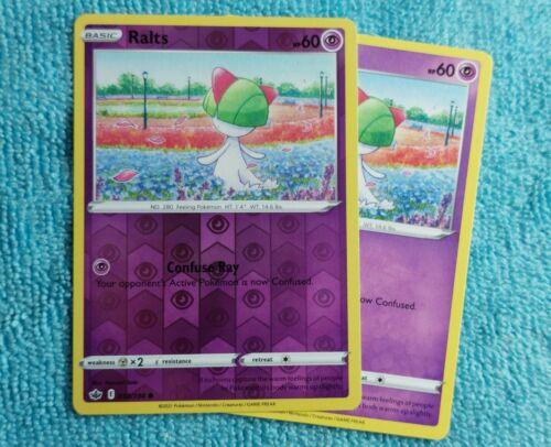 Pokemon Card Ralts 059/198 Reverse Holo + Regular - Chilling Reign  Mint Pokemon