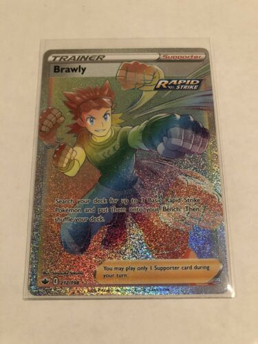 Pokemon Chilling Reign Brawly Rapid Strike Full Art Rainbow Secret Rare 212/198