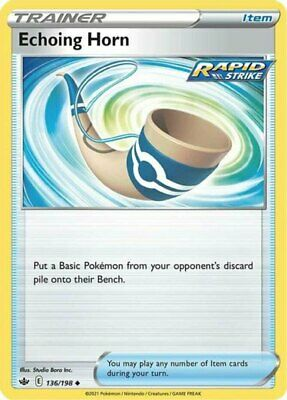 x4 Echoing Horn - 136/198 - Uncommon - Reverse Holo Pokemon SS06 Chilling Reign