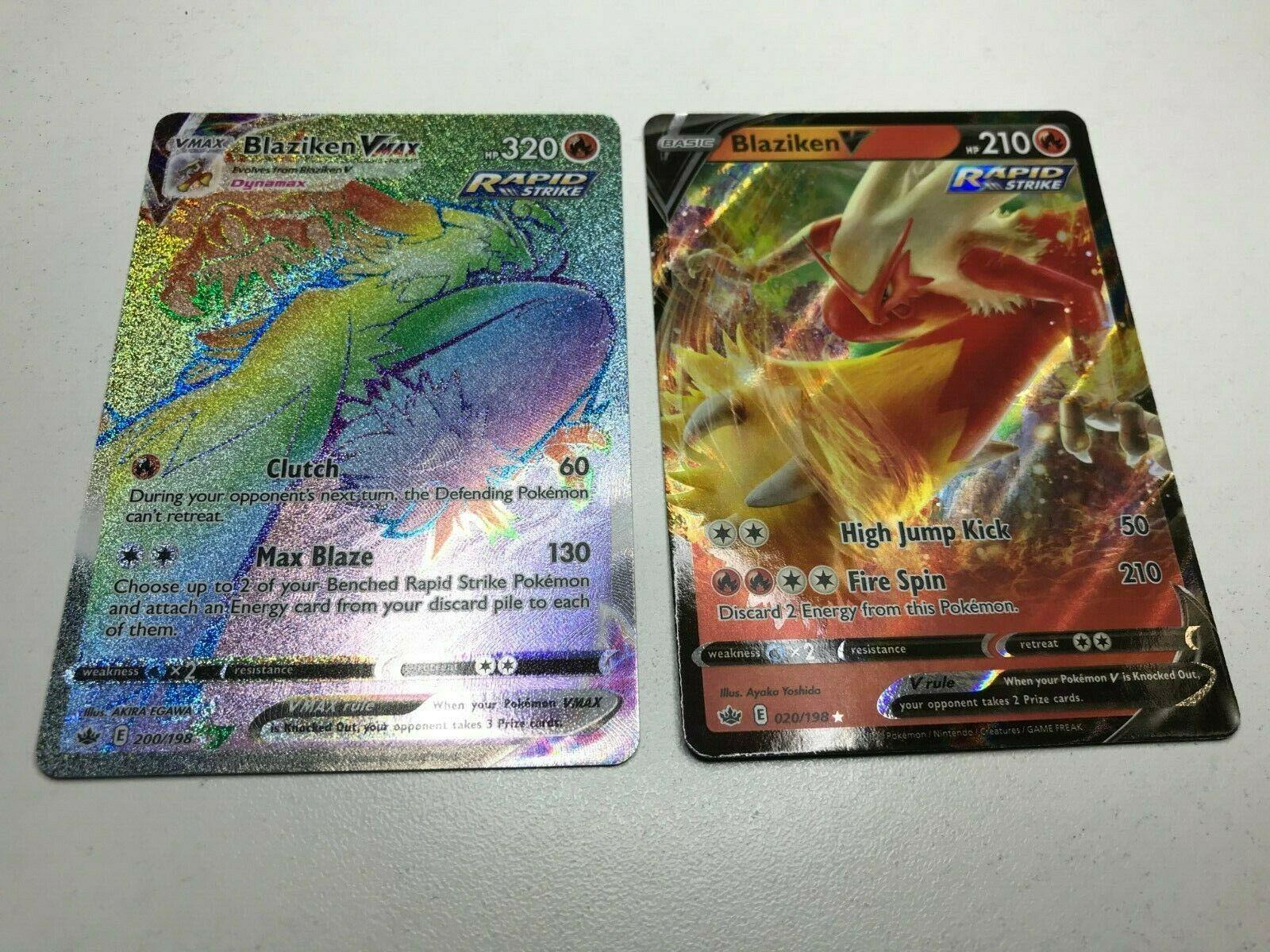 Pokemon Blaziken VMAX 021/198 200/198 Secret Rainbow Hyper Rare V Chilling Reign
