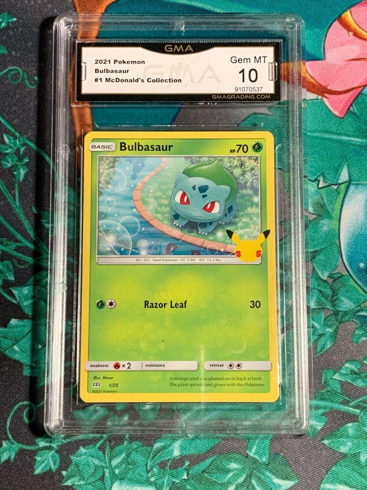 Bulbasaur 1/25 GMA 10 Pokemon 2021 McDonald's Collection Graded card slab