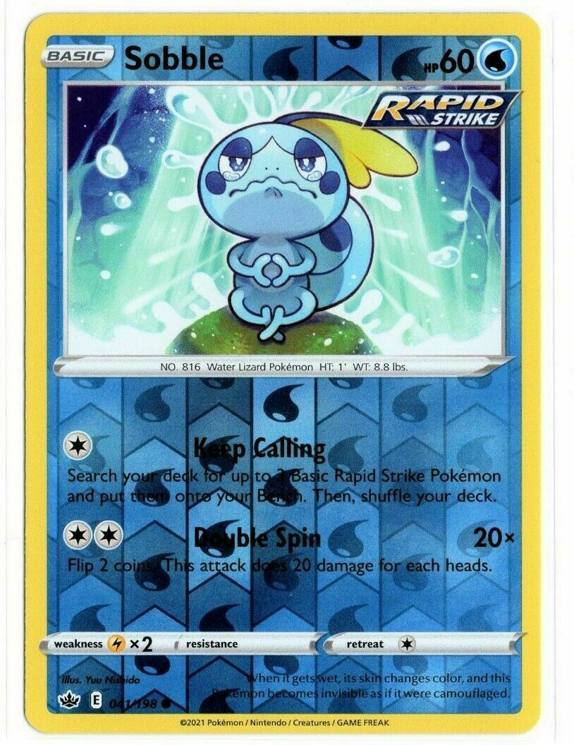 Pokemon - Sobble 041/198 - Reverse Holo - Chilling Reign - NM/M