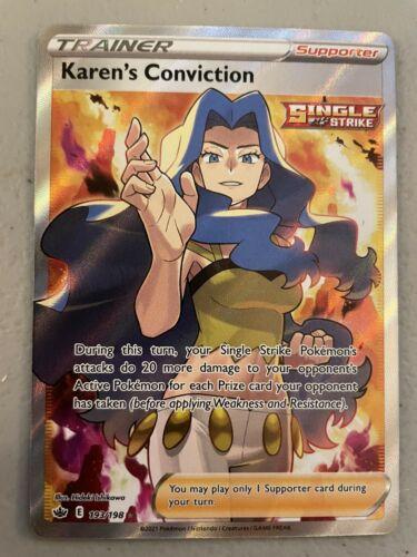 Pokemon TCG - Chilling Reign Karen's Conviction Full Art Card -  193/198
