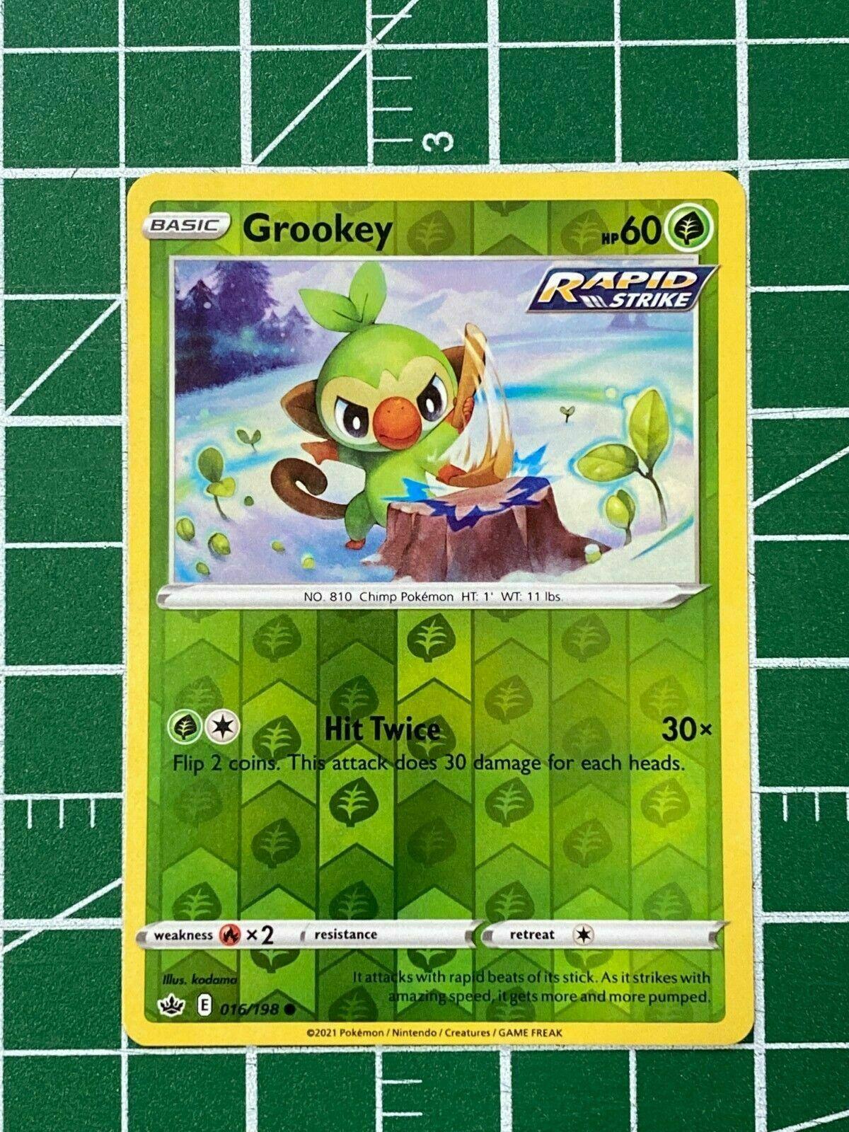 Grookey 016/198 Reverse Holo SWSH Chilling Reign Pokemon Card MINT