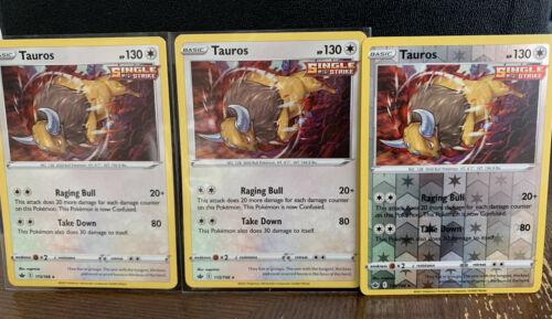 Pokemon - Tauros x3 Reverse Holo & Holo - Chilling Reign - 115/198 Deck Building