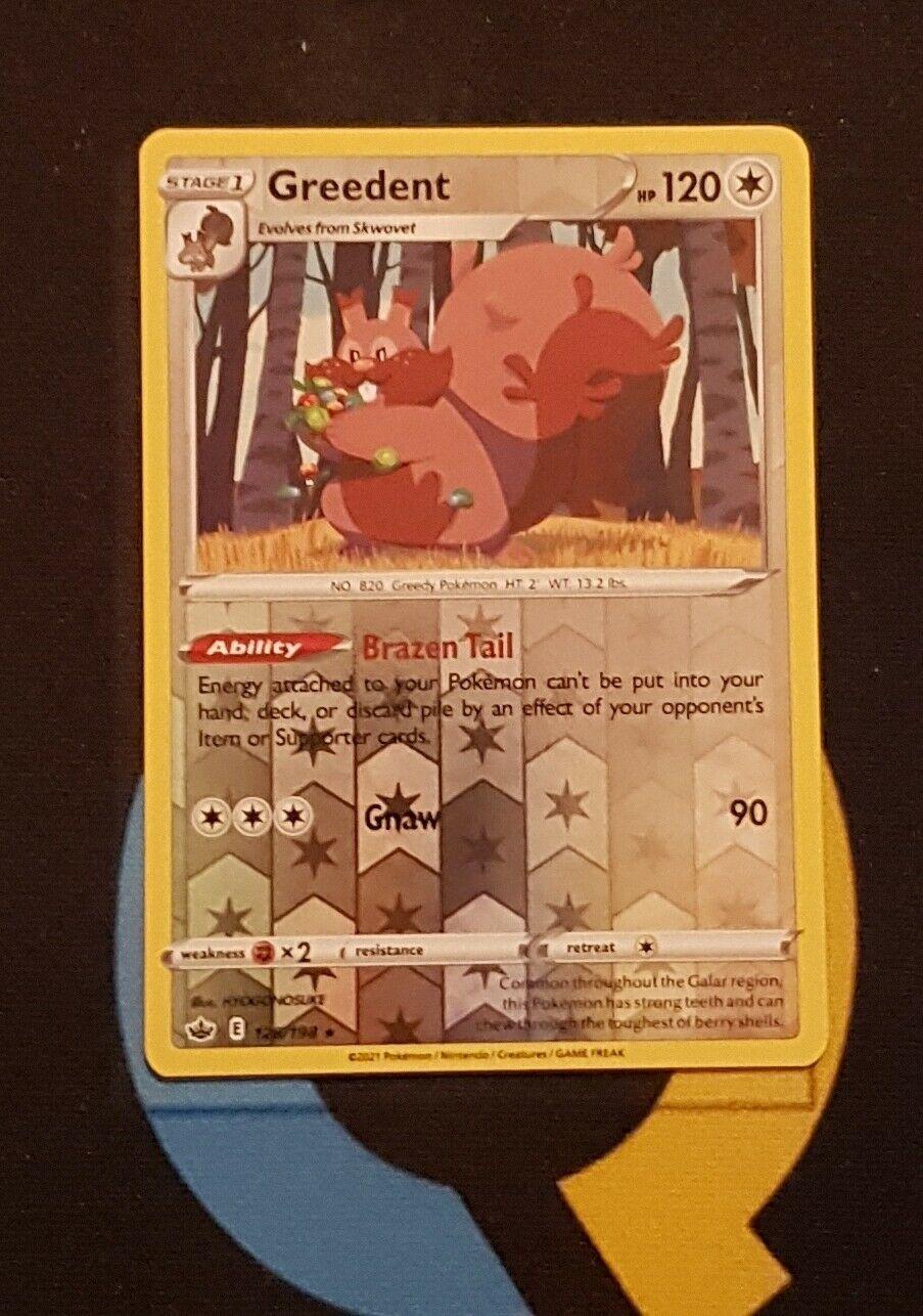 Greedent - 128/198 Chilling Reign - Rare Reverse Holo - Pokemon