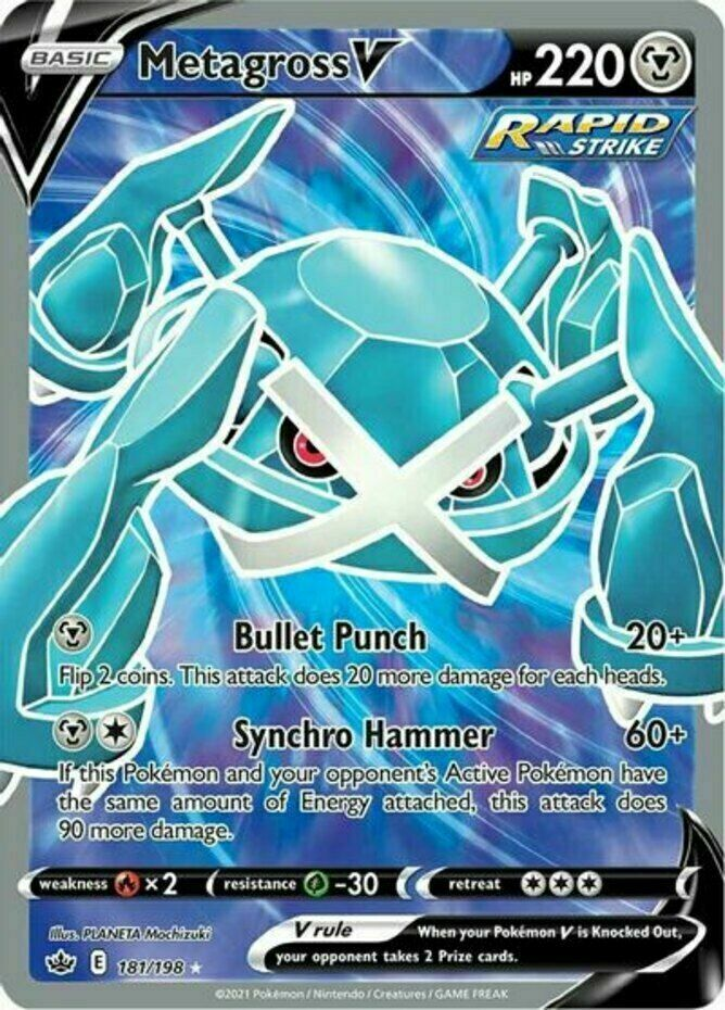 Pokemon - Metagross V - 181/198 - Full Art - Chilling Reign  - NM/M