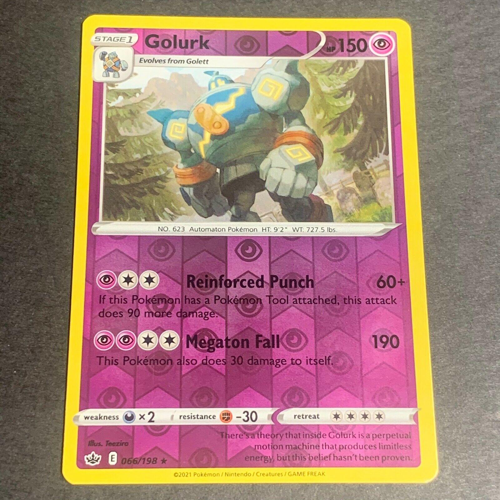 Pokemon S&S Chilling Reign Set REVERSE HOLO (R.) Golurk 066/198 - Near Mint (NM)