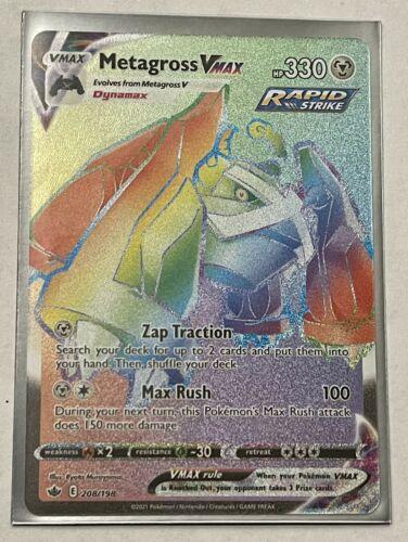 Metagross VMAX 208/198 NM Chilling Reign Rainbow Secret Rare Pokemon Card - Image 3