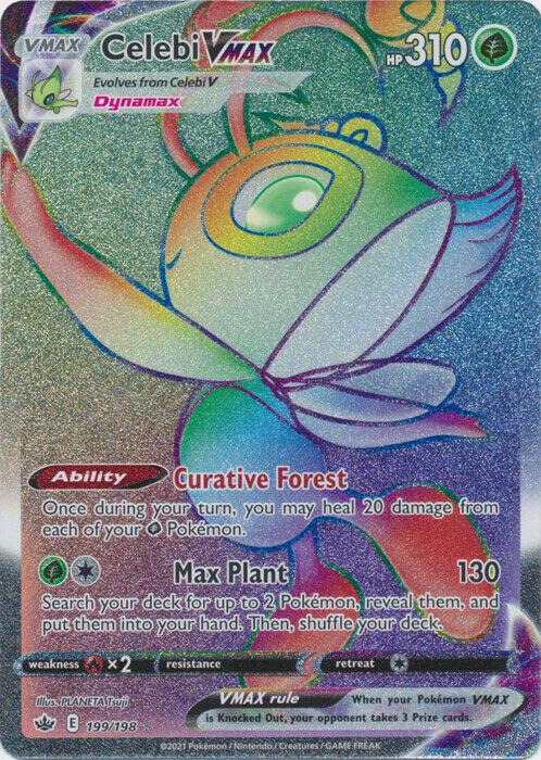 Pokemon Celebi Vmax 199/198 Full Art Secret Rare Chilling Reign - NM