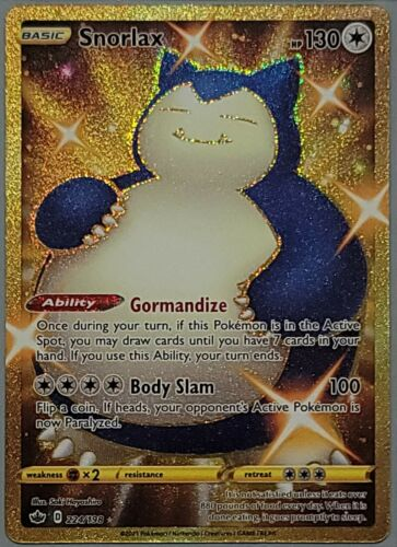 Snorlax 224/198 Gold Rare Chilling Reign Pokemon Card Mint/Near Mint