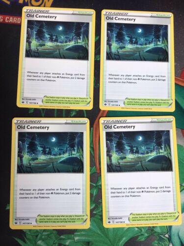 147/198 Old Cemetery   Trainer Stadium Playset x4   Chilling Reign   Pokemon TCG