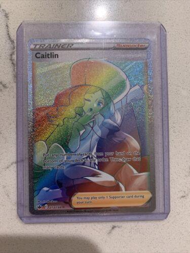 Pokemon Chilling Reign Caitlin Rainbow Rare Full Art 213/198