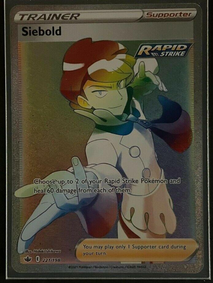 Siebold HR 221/198 Full Art Trainer Rainbow Chilling Reign Pokemon Card NM.