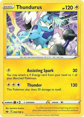 x1 Thundurus - 052/198 - Holo Rare - Reverse Holo Pokemon SS06 Chilling Reign M/
