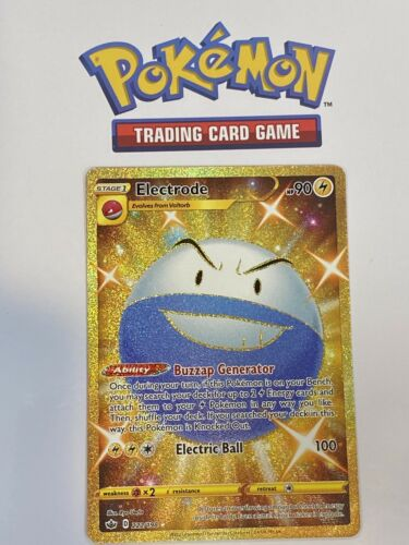 Pokemon Chilling Reign Gold Shiny ELECTRODE 222/198 Extra Mint! Great Centering!